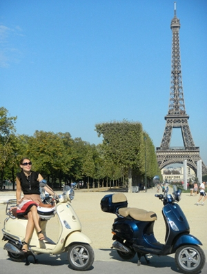 paris must see : the Eiffel Tower by Vespa scooter