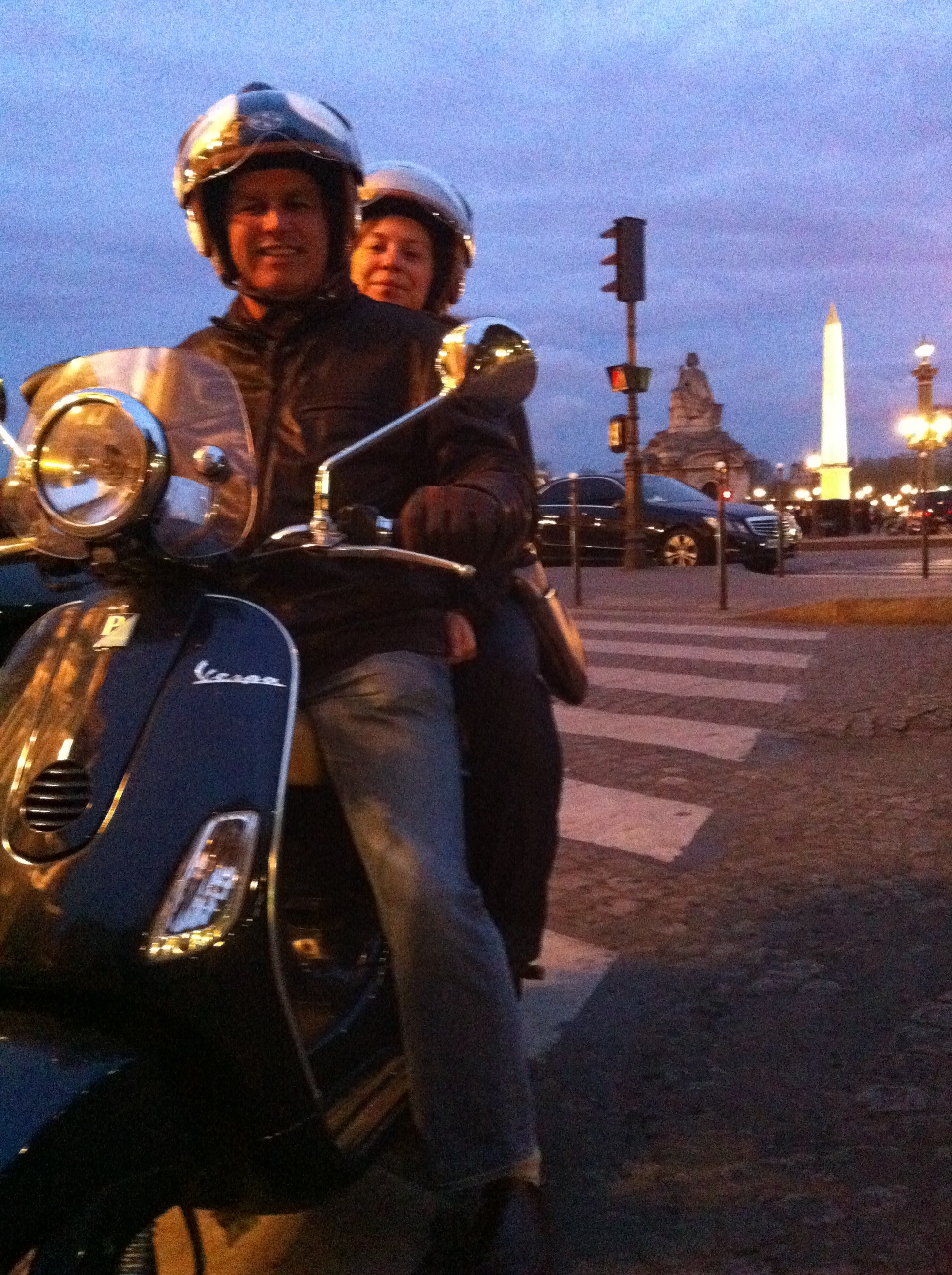 picture of paris france by night : concorde square by vespa scooter.