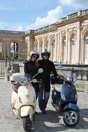 Pictures of Versailles grand trianon by vespa scooter.