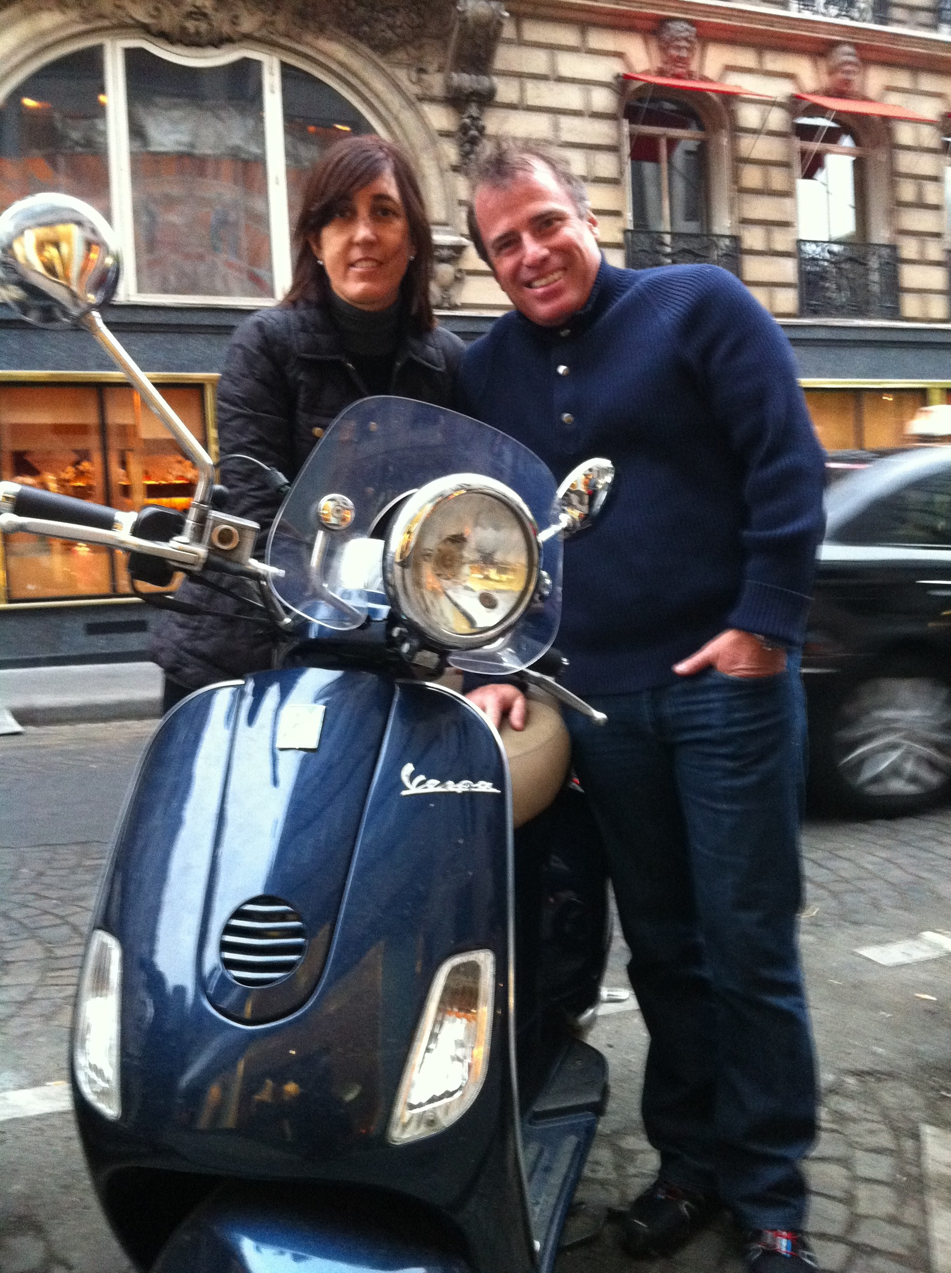 Carlos and his wife in front of the Palace Plaza Athenee rue Montaigne Paris France